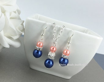Bridesmaid Gift, Navy and Coral Necklace, Navy and Coral Jewelry,  Bridesmaid Jewelry, Navy and Coral Wedding, Coral Necklace