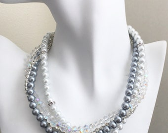 Bridal Jewelry, Statement Necklace, Chunky Necklace, Grey and White Necklace, Rhinestones Necklace, Bridesmaids Jewelry, Bridesmaid Gift