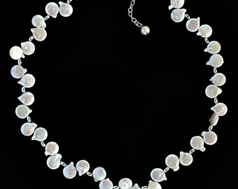 Dancing White Coin Pearl Necklace