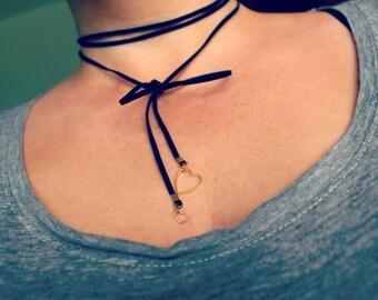 Heart Bolo Wrap Necklace Choker Grecian Bridesmaid Charm Pendant Trio Layer Amethyst Quartz