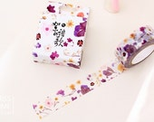 """Japanese Floral in Purple and Yellow Washi Tape - 5/8"""" x 11 yd (15 mm x 10 m) - paper tape by Miss Time"""