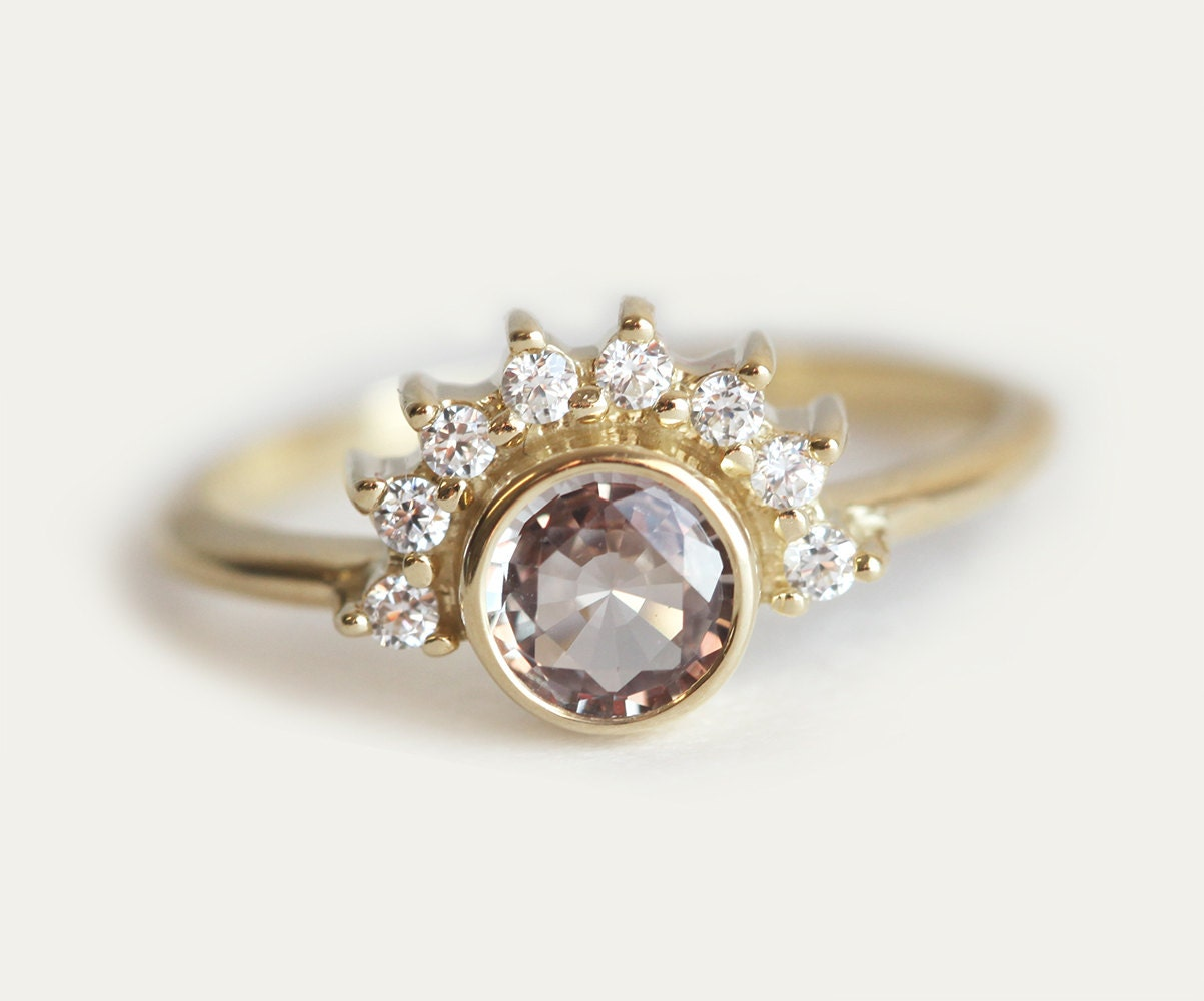 sapphire diamond ring rose engagement ring gold sapphire. Black Bedroom Furniture Sets. Home Design Ideas