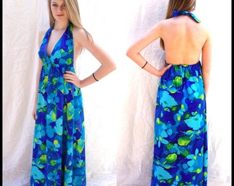 vintage, Hawaiian, maxi dress, 1960s,floral,  halter dress, Hawaiian, island dress, boho, hippie,resort, beach, sm  sm/Med