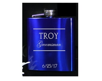 Royal Blue Gloss Groomsmen Flasks - Personalized 6 oz Wedding Flasks - Perfect Wedding Favors
