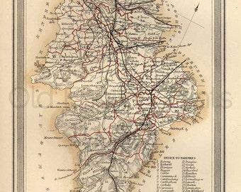 Lanark Shire c.1857 - Antique Scottish County Map of Lanark Shire - 8 x 11 ins PRINT - FREE P&P UK