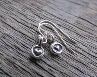 Silver Heart Earrings, Valentine Gift, Hill Tribe Silver Earrings, Heart Dangle Earrings, Silver Heart Jewelry, Heart Charm Earrings