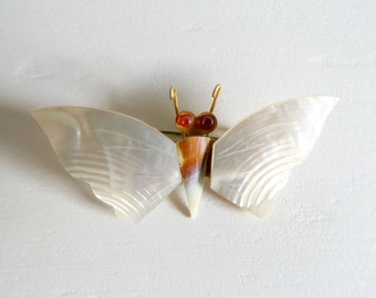 Vintage Moth Brooch, Vintage Jewellery, Mother of Pearl Brooch, Insect Jewellery, Vintage Brooch, Shell Brooch, Butterfly Brooch, 1970s
