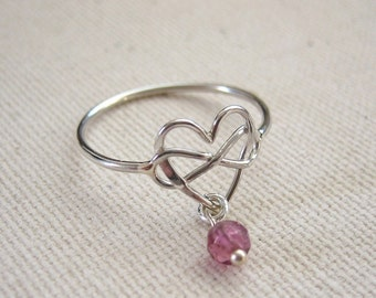 Infinity Heart Ring Sterling Silver Ring with Optional Pink Tourmaline Dangle - Eternal Love Jewelry, Valentine Finger Ring