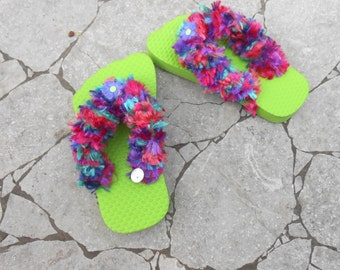 Girls Flip Flops - Decorated Flip Flops - Green Purple Flip flops - Handmade Flip Flops - Size 5/6 - Free US Shipping