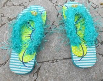 Girls Flip Flops - Decorated Flip Flops - Green and Teal Flip flops - Handmade Flip Flops - Size 10/11 - Free US Shipping