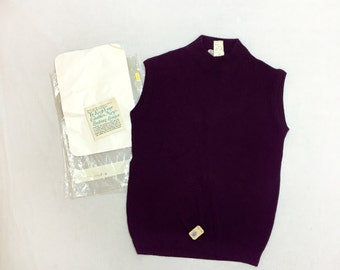 Vintage 60s / 70s Women's Sleeveless Mock Turtle Nylon Top Size 36 // NOS // Deadstock // Never Worn // Mod // 1960s // 1970s // Plum