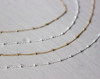 Delicate Chain Necklace, Satellite Chain Necklace, Layered Necklace