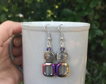 Handmade Iridescent and Aztec Beaded Earrings