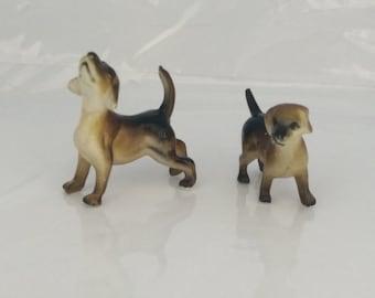 Vintage miniature hound dogs pair