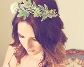 Woodsy Beauty -Boho, Bridal Flower Crown, Rustic Wedding, Photography Prop, Festival Hair Accessory, Bridesmaid - Dusty Miller & Mum's