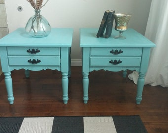 SOLD**********Gorgeous Turquoise French Provincial Twins-Blue/Green Matching Nightstands, Side Tables End Tables-French Country Furniture