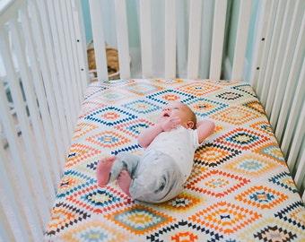 Crib Sheet - aztec, gender neutral, southwest, colourful, modern, trendy, crib bedding, nursery, newborn gift