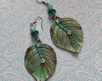 Patina Brass Earrings, leaf earrings, boho, hippy, feminine, shabby, shabby chic,brass, jewelry, gems, agath,beads, swarovski stones