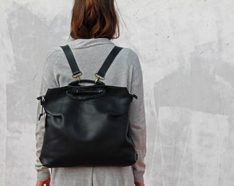 Black backpack for her, black leather backpack, big leather backpack, black backpack, women leather bag, women backpack, school backpack