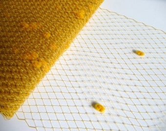 9 Inch Mustard Yellow Gold Dot Veiling for Hats Millinery Chenille Spotted Birdcage Russian French Netting DIY Veils Blushers Fascinators