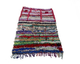 """75""""X63"""" Vintage Moroccan rug woven by hand from scraps of fabric / boucherouite / boucherouette"""