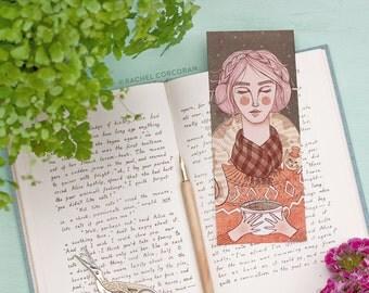 Original Illustration Bookmark Print by Rachel Corcoran - Coffee - Cat