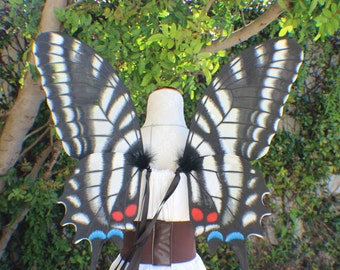 Custom Large Hand Painted Zebra Swallowtail Butterfly Inspired Wings