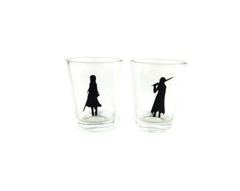 Kirito and Asuna,  Sword Art Online, Sweetheart Set Shot Glass, Geeky Glassware, Gaming keepsake, Gifts for Geeks, Nerd Crafts, Geek Wedding