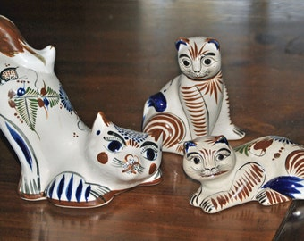 3 Vintage TONALA Cats - Mexican folk art