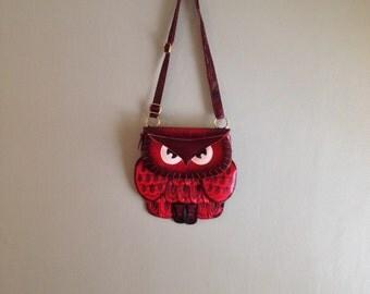 70s Red Leather Owl Studded & Hand Stitched Shoulder Bag