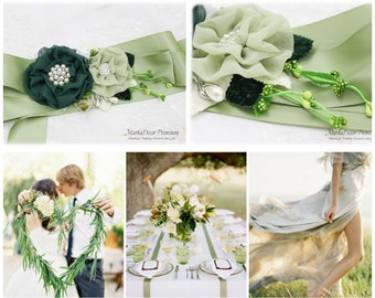 Wedding Sash, Green Ivory Sash, Bridal Jeweled Sash, Flower Belt, Custom Beaded Sash, Eco Wedding Sash, Barn Wedding, Flower Sash