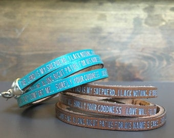The Lord is my shepherd...Psalm 23 Daily Reminder Leather wrap bracelet