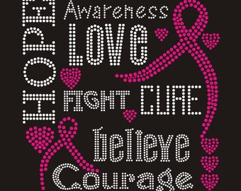 Pink Cancer Cure Hope Love Hot fix Rhinestone Iron on Transfer