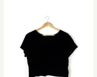 SUMMER SALE Vintage  Plain Black Velour Short sleeve Blouse from 1980's/minimal*