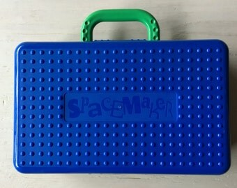 Vintage 90s Spacemaker Pencil Box in Blue and Green / Made in the USA