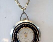 Vintage Fieldston Pocket Watch Clock Pendant Necklace