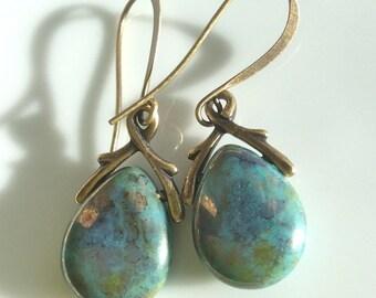 Turquoise Glass Earrings  Boho Earrings  Czech Glass Teardrops  Antiqued Brass Earrings  Gypsy Dangles
