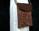 Cross Body Upholstery Cell Phone Bag - Boho Messenger Bag - Tapestry Bag -  Cross Body Cell Phone Purse