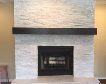 Seven foot modern rustic fireplace mantel 84 inch mantel