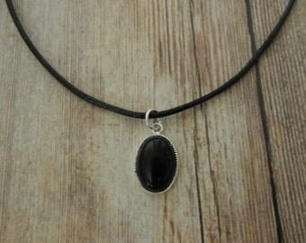 Black Onyx Choker Necklace, Black Onyx Choker, Wax Cord Choker With Black Onyx Pendant, Black Onyx Pendant