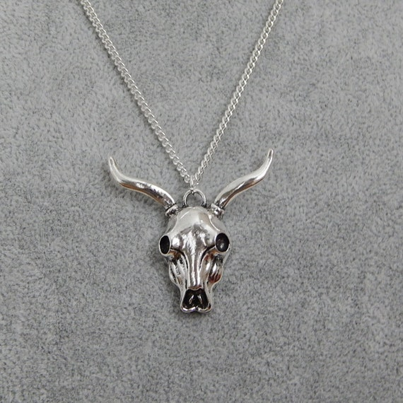silver cow skull pendant skull charm necklace layering