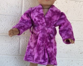 18 inch Doll Clothes - Fuchsia Print Fleece Robe