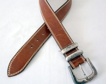 Vintage Brown Leather Eddie Bauer Belt w Silver Plated Brass Buckle Women Sz 26