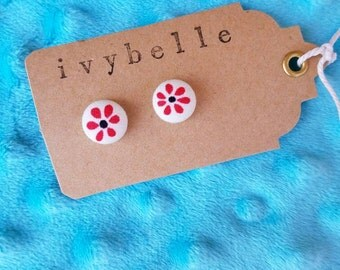 Red flower fabric covered button earrings