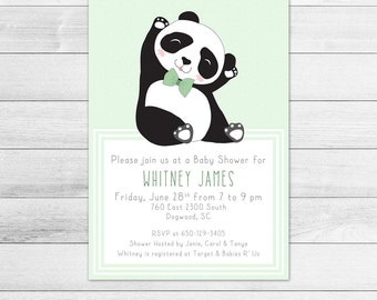 Dapper Panda Baby Shower Invitation, Gender Neutral Digital Printable Invite, Hipster, Fashionable