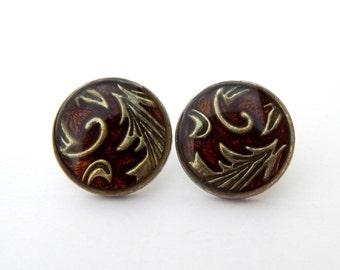 Vintage Brown Enamel Round Earrings, Brown Enamel Boho Button Earrings, Estate Jewelry