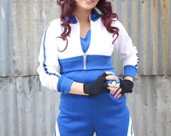 Blue Trim Pokemon GO Trainer Cosplay Costume Hoodie Cropped Jacket