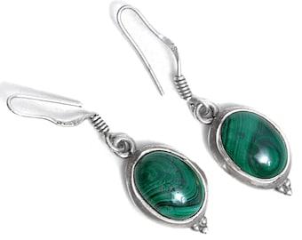 Earrings Malachite Silver Jewelry Gemstone