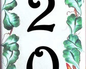 Vertical House number plaques, Vertical vine house numbers, Outdoor sign, Wreath house sign, Green leaves wall sign, floral house plaque.