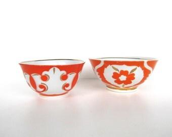 Vintage Uzbekistan Ikat Bowls, Glam Orange And Gold Porcelain Ikat Bowls, Set of 2
